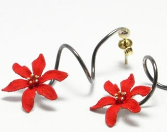 Sterling Silver Earrings, Dangle Earrings, Red Flower Earrings, Botanical Jewelry, Nature Inspired, Unique Handmade Earrings