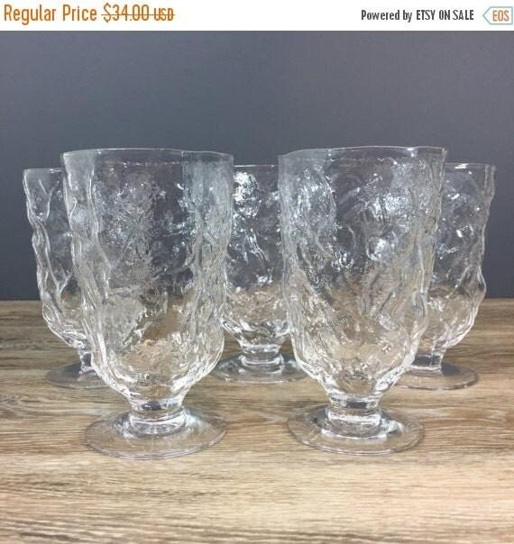 ON SALE Retro Barware Footed Crinkle Glasses, Set of FIVE, Vintage Seneca Drinkware