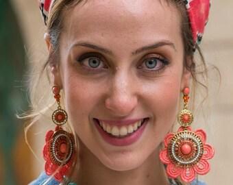 Lovely Bohemian Flower Hanging earrings Long Tassel Earrings Dangle Earrings for her, Handmade Earrings, Jewelry, Indian Earrings,