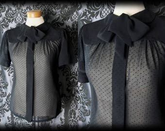 Goth Black Sheer CRUEL GOVERNESS Bib & Pussy Bow Blouse 10 12 Victorian Vintage
