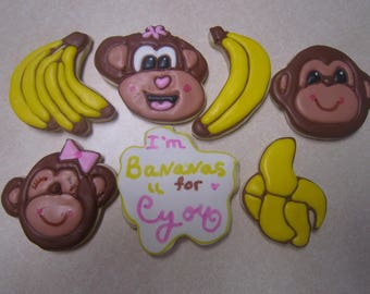 1 Dozen Monkey and Banana Hand Decorated Cookies