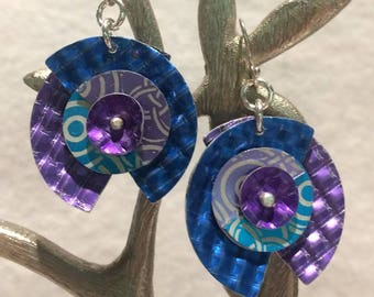 Turquoise Tanzanite Circle  Blue Embossed Waffle Anodized Aluminum Dapped Riveted Sterling Earrings