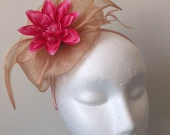 New Blush pink sinamay fascinator with pink flower and feathers on a headband!