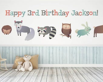 Kids Birthday Party Decorations, Woodland Theme Kids Party Decor, Kids Party Wall Decals, Animal Birthday Party Decorations