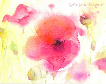 Poppy Design 5 - Blank Greetings Card, Watercolour Card, Watercolor Card, Poppy Card, Poppy Landscape