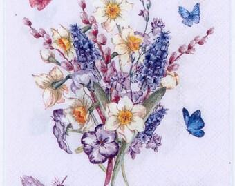 4 Decoupage Paper Napkins  Muscari Grape Hyacinth Flowers   Muscari Napkins   Hyacinth Napkins   Floral Napkins  Paper Napkins for Decoupage