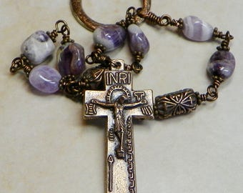 AN PAIDRIN BEAG -  The little rosary - Ancient Irish Penal Rosary -Dogtooth Amethyst