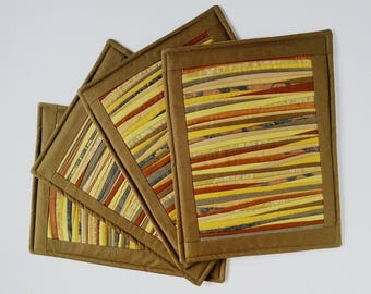 Place Mats Brown Yellow Quilted Place Mats  Padded Placemats  Table Mats Dinner Placemats Table Decor Hostess Gift Set of 4