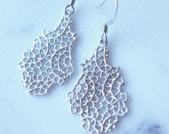 Silver Lace Earrings,