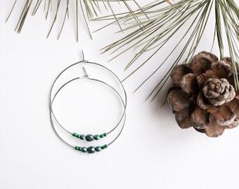 yule moon / emerald evergreen and silver hoop earrings