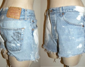 "Vintage Levi's 501 shorts / 501s / cut offs  daisy dukes / Bleach spots / distressed / size 34 / measured 31-32"" at waist"