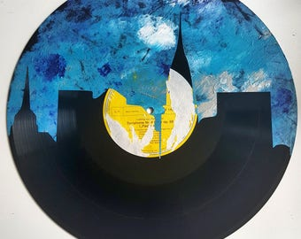 LP Acrylic Painted NYC Chrysler Building Skyline on Yellow Label