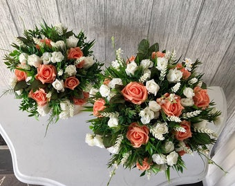 Peach & Ivory Bridesmaid Bouquet, Finished with Hessian - Price is for one bouquet