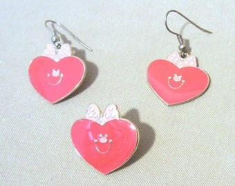 Enameled Smiling Hearts Jewelry Set, Vintage 90's Earrings & Lapel Pin Hearts w/Polka Dot Bow, Love Romance Valentine Jewelry, Ladies Gift
