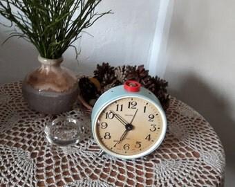 Vintage large light blue mechanical alarm clock JANTAR, retro home decor