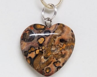 Leopardskin, Jasper, Heart, Pendant, Gemstone, Crystal, Necklace