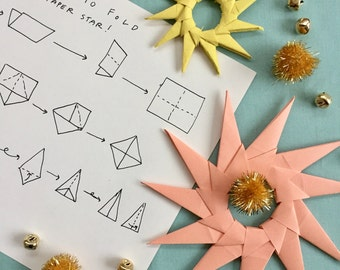 Paper Star Ornament DIY Kit - Personalized Christmas Ornaments, Handmade Ornaments, Christmas Decorations, DIY Holiday Ornaments