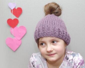 Messy bun hat, kids messy bun beanie, ponytail beanie, knit wool bun hat, violet hat, ready to ship