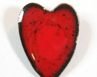 Red enamel brooch. Handmade and designed by Katherine Reekie.