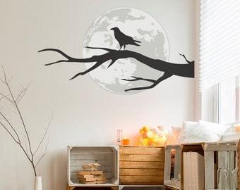 Raven Full Moon Halloween Wall Sticker