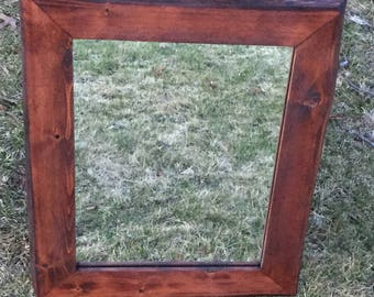 Rustic Cedar Mirror with Natural Edge and Red Mahogany Stain