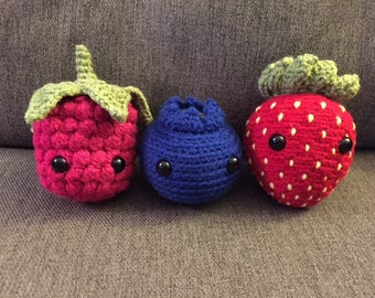WHOLE SET Crochet Fruit Berry Set Stuffed Animal/Toy (Made to Order)