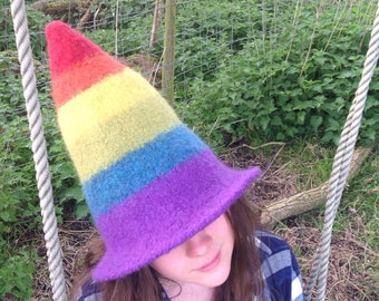 Felted Witch/elf rainbow hat