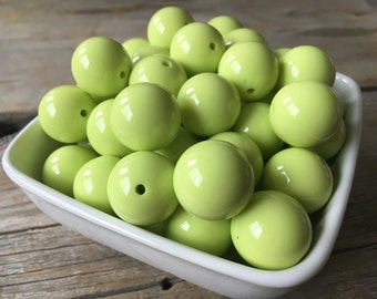 20mm Lime Green Solid Chunky Bead, Summer Bubblegum Bead, Acrylic Bead, DIY Chunky Necklace, 10 Count