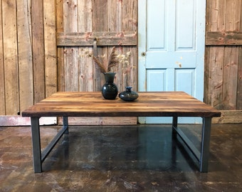 Industrial Reclaimed Wood Coffee Table / H-Shaped Steel Legs