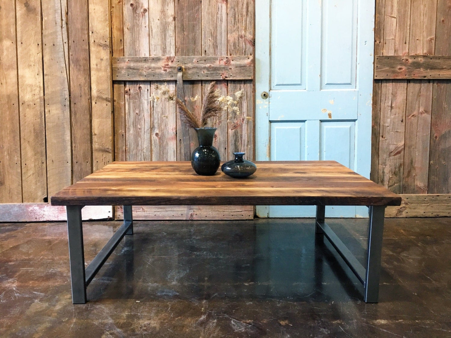 Industrial Reclaimed Wood Coffee Table H Shaped Steel Legs
