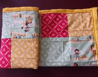 """Quilted Baby Blanket Crib Bedding Boy or Girl Cowboys and Cowgirls and Hanky Prints Cotton 28""""x38"""""""