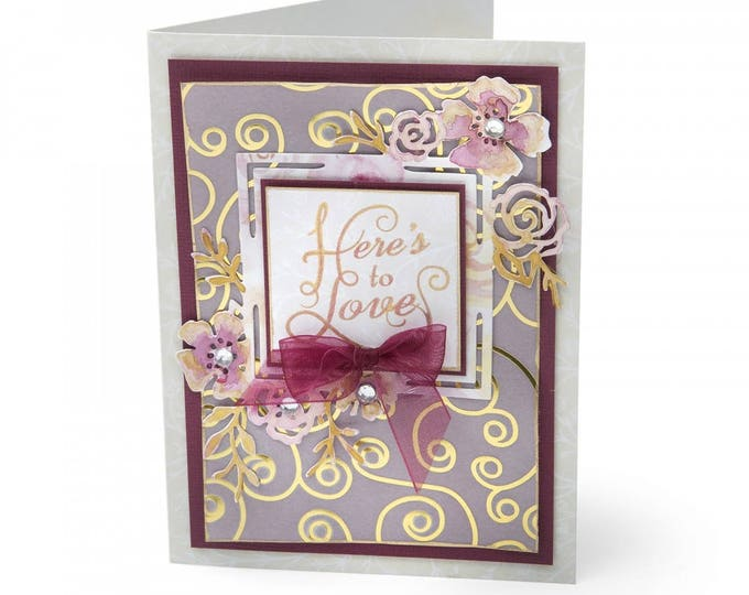 New! Sizzix Thinlits Die - Floral Label by David Tutera 661896