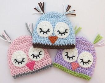 Crochet Owl hat in Preemie or Newborn size