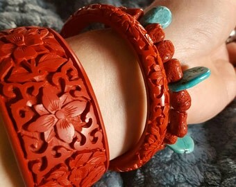 Vintage Turquoise and Red Coral Stretch Bracelet (Does Not Include Turquoise Bracelet Nor Cinnabar Bracelets)