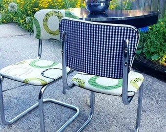 """No table-Unique Set of Two Refurbished Tan and Green/Houndstooth 1940's """"S""""-Shaped Chrome Dining Chairs; Mid Century Kitchen Chairs"""