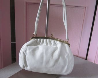 1960s Small White Leather Handbag