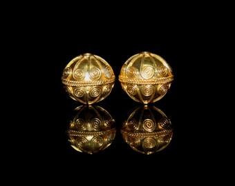 Two 14mm 22 Karat Gold Vermeil Wire Work Spirals Beads, Gold Vermeil Beads, 14mm Vermeil Beads, Gold Beads, Gold Plated Beads