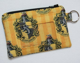 Limited! Harry Potter Hogwarts Hufflepuff Keychain ID Wallet, Student / Teacher, Work ID, Badge Holder, Coin Purse - 2 Options for ID Pocket