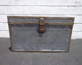 Trunk Storage Locker Chest Aluminum Primitive Rustic Decor Vintage Retro  Coffee Table Storage Bench Boho Chic