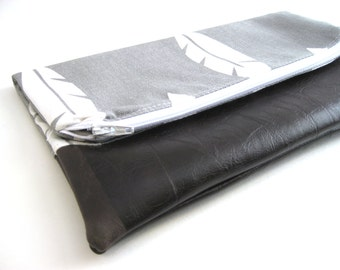 Fold Over Clutch -Small | Clutch Wallet | Clutch Handbag | Foldover Bag| Bridesmaid Gift| Grey Feather SMALL