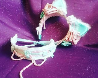 ONLY ONE MADE! Spring 2017 Neko Lolita Set [Pastel Pink/Blue/White] Ears-Tail-Collar - Handmade Satin Ribbon Roses