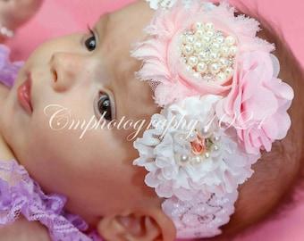 Lt Pink Headband/Baby Headband/Baby Headband and Bow/Infant Headband/Baby Girl Headband/Girl Headband Baby/Toddler Headband/Photo Prop Baby