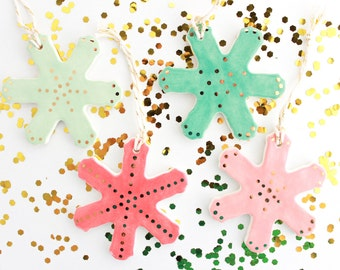 Snowflake Christmas Ornament, Colorful Christmas Decor, Gold Holiday Decor, Ceramic Christmas Tree Ornament, Polka Dot Ornament