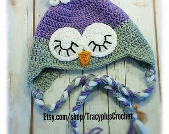 Owl beanie. Owl hat. Crochet Sleepy Owl beanie with braids. Owl beanie wth earflaps and braids. Handmade to order.