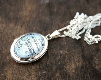 Personalized Locket necklace / sterling silver locket with map of your choice / vintage map locket necklace / sterling locket gift for wife