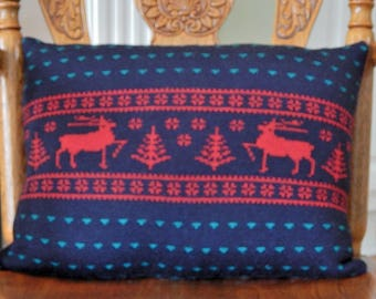 Upcycled Wool Sweater Pillow, 2 Red Deer on Navy