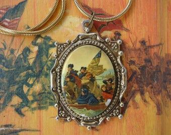 George Washington Crossing the Delaware Pendant Necklace