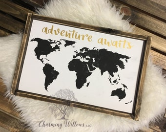 Adventure Awaits Sign / Adventure Awaits Wood Sign / Adventure Awaits Framed Sign / Nursery Decor / Framed Home Decor