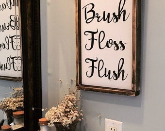 Bathroom Sign / Wash Brush Floss Flush Sign / Bathroom Wall Decor / Bathroom Wall Art / Wood Sign / Framed Wood Sign / Wash Brush Sign