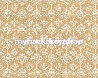 8ft x 8ft Beige Damask Wallpaper Photo Prop - Tan Damask Patterned Photography Backdrop - Neutral Wedding Photography Prop - Item 3218